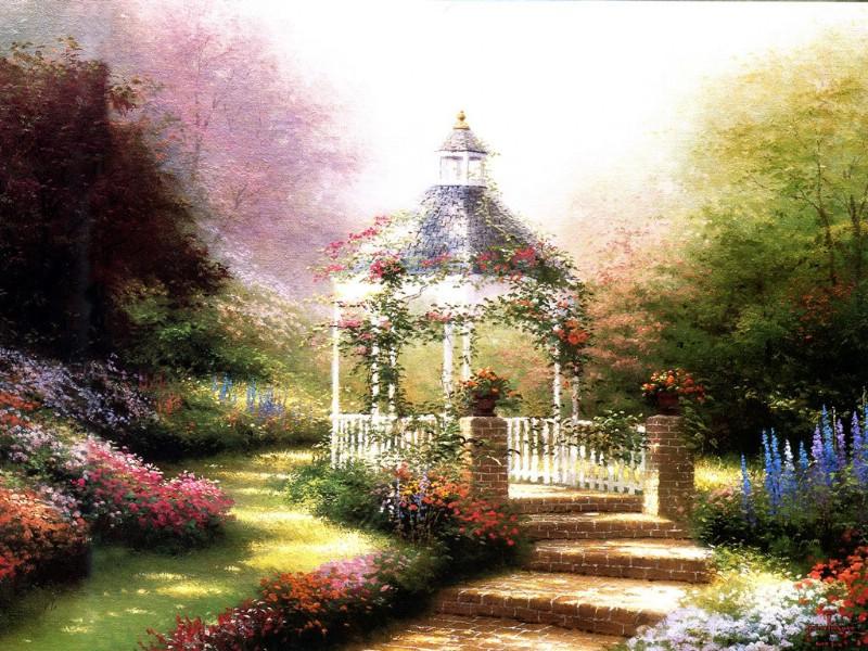 诗意的庭院 田园风景油画壁纸壁纸,Thomas Kinkade 温馨田园风景油图片