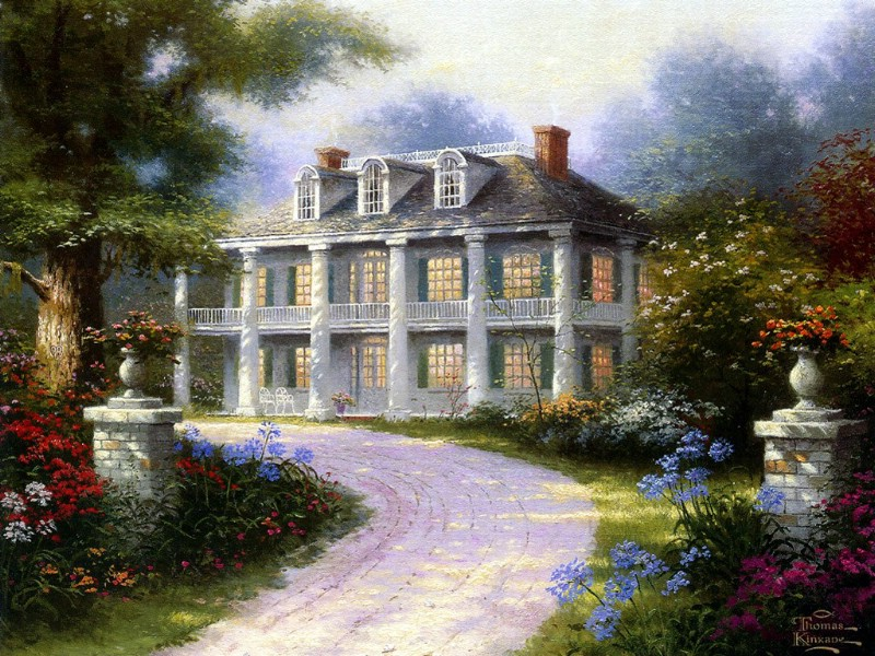 美国田园风景油画壁纸