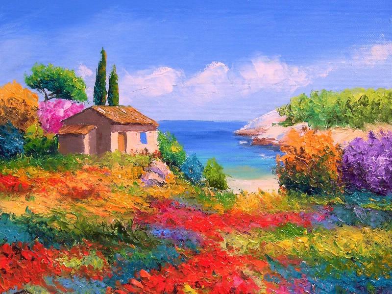 油画棒自然风景图