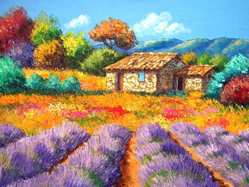 梦幻田园风景油画壁纸 法国风景油画壁纸壁纸,童话 .
