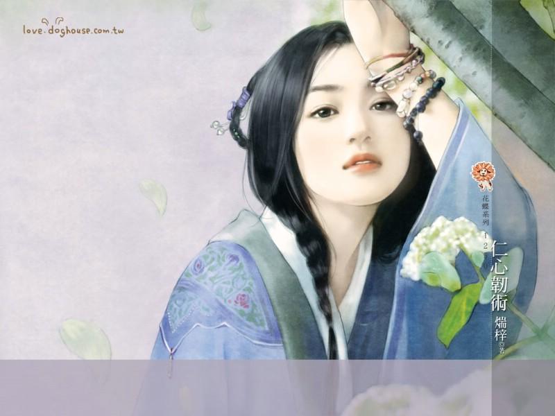 手绘古代美女插画壁纸壁纸,言情小说封面 手绘古代美女壁纸壁纸图片图片