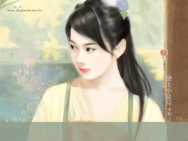 photoshop设计梦幻的手绘插画清纯美女图片
