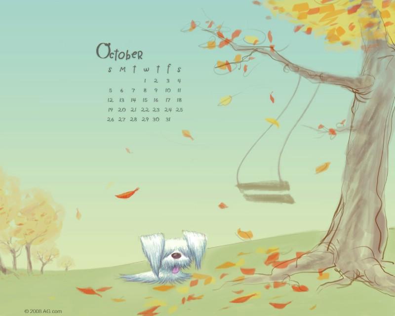 2008年10月韩国插画月历壁纸