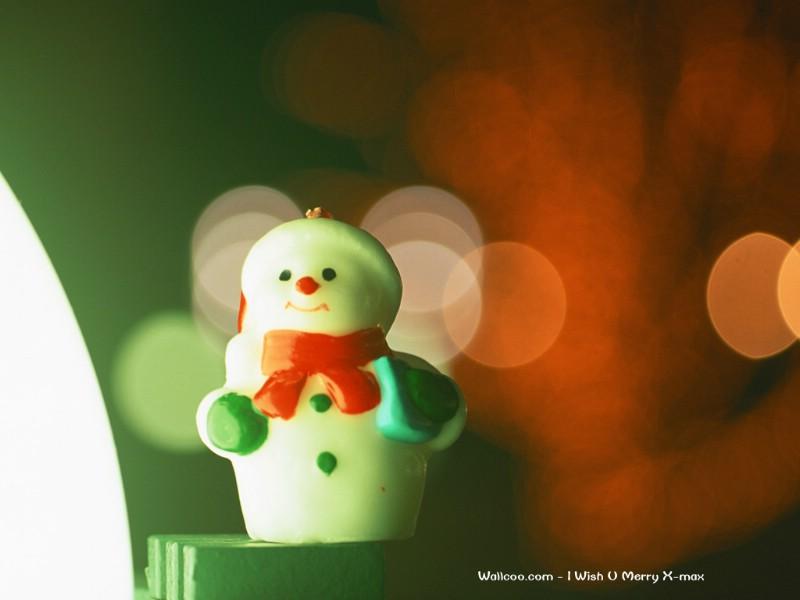可爱圣诞小雪人蜡烛壁纸