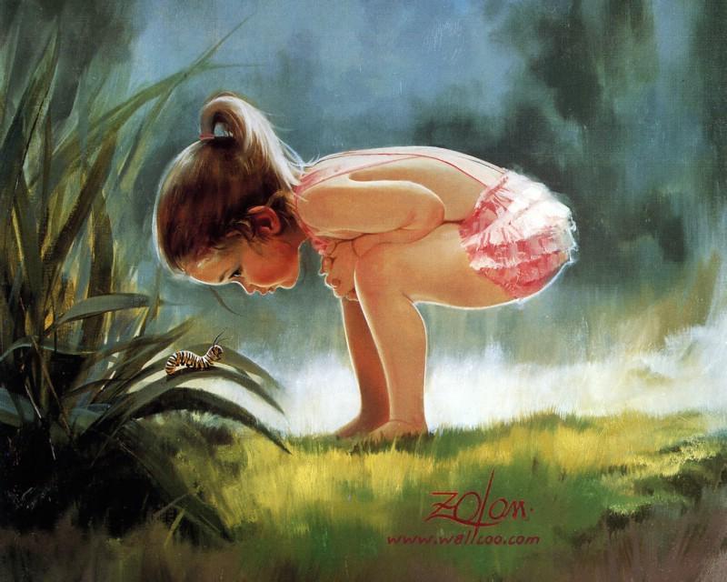 发现毛虫+可爱小女孩绘画壁纸壁纸