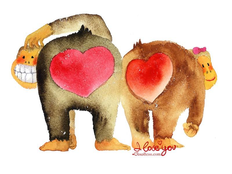 猩猩情侣 情人节手绘卡通壁纸
