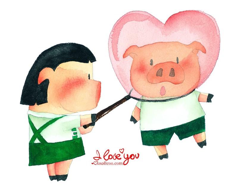 情人节手绘插画壁纸图片