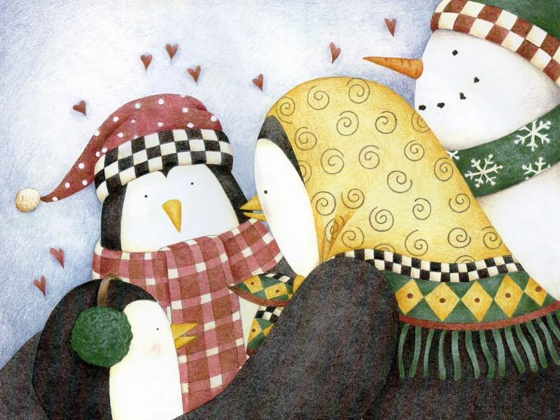 插画壁纸,圣诞节儿童故事绘本壁纸, 圣诞节故事手绘插画,美国