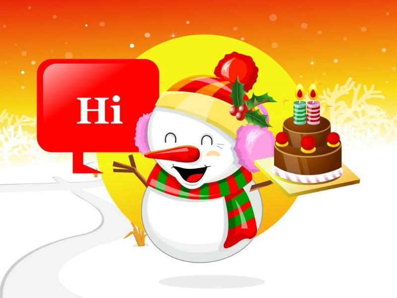 圣诞节 可爱雪人图片壁纸