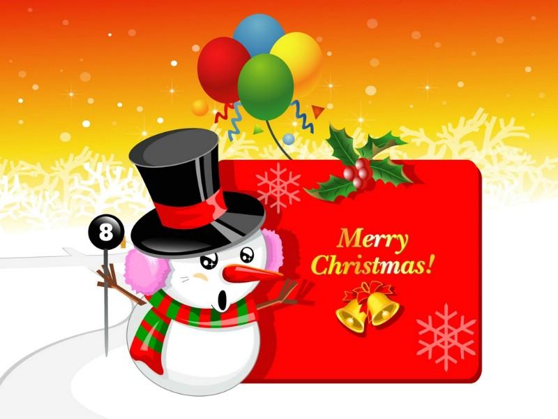 圣诞节 可爱雪人图片壁纸 christmas lovely snow man