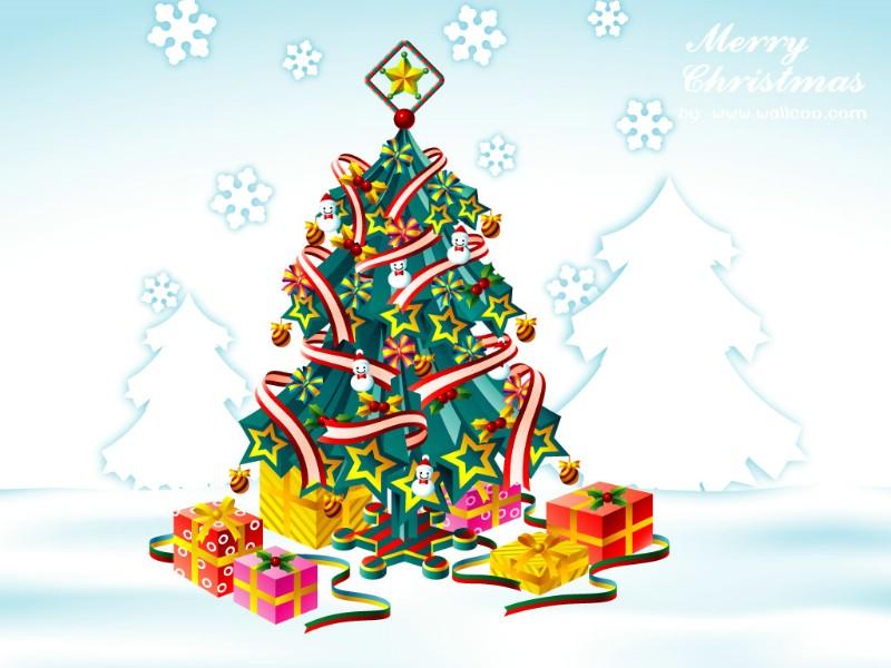 圣诞树矢量图壁纸 christmas