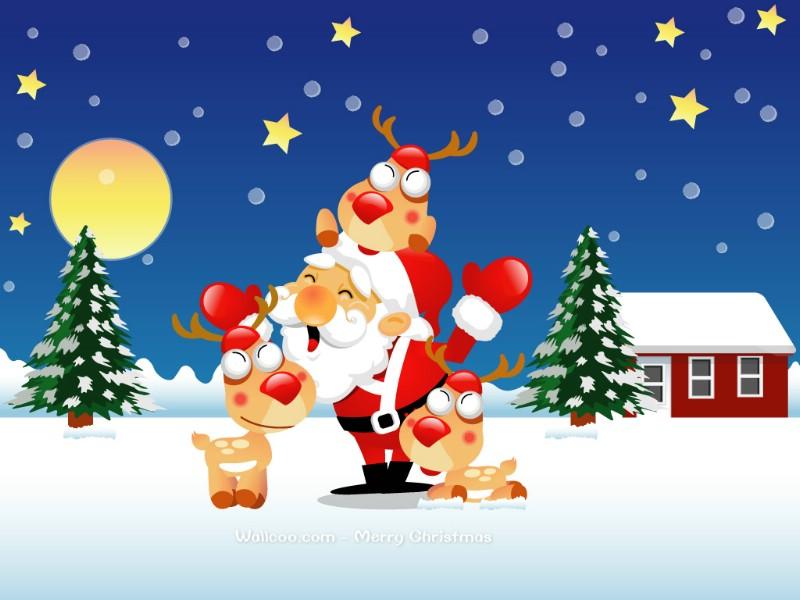 圣诞老人与驯鹿 christmas