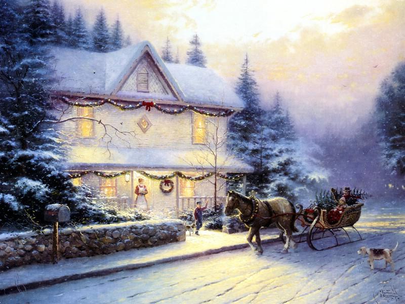 手绘圣诞雪景节日壁纸壁纸,手绘圣诞雪景节日壁纸壁纸图片