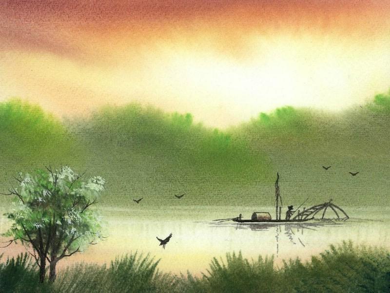 诗情画意 湖畔人家壁纸 诗情画意 湖畔人家壁纸图片 其他壁纸 其他图片素材 桌面壁纸